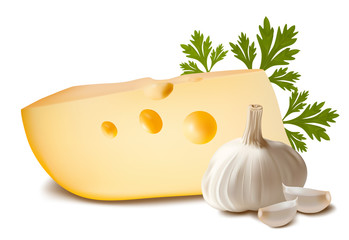 Vector illustration. Cheese with garlic.