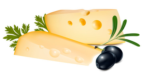 Vector illustration. Cheese with olives