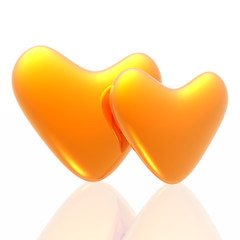 Golden hearts isolated in white background