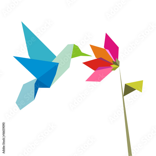 Deurstickers Geometrische dieren Origami hummingbird and flower on white