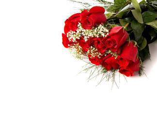 Boquet or red roses on white