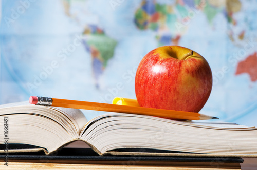 Study Materials With Books And Map