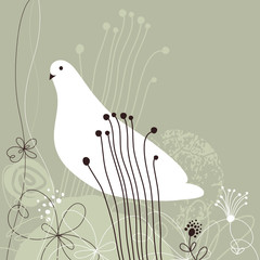 floral background with white bird