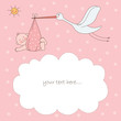 roleta: Baby girl arrival announcement card