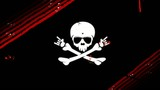 Crossbones skull animation black background poster