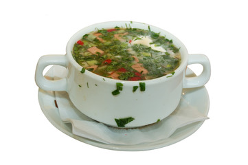 russian kvass soup isolated on white