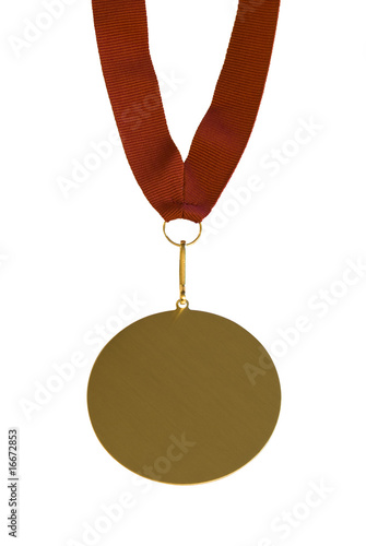 Goldmedal isolated with red cord