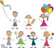 Vecteur 7 enfants jouets