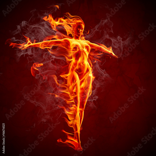 Plexiglas Vlam Fire girl