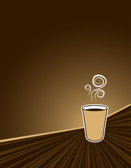 black coffee to go on coffee colored background with copy space