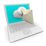 White Laptop Delivering Your e-Mail poster