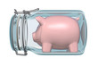 Piggy bank in glass jar