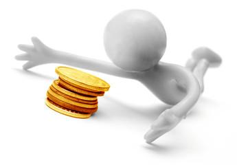 Human figure and money