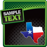 Texas icon on green and black halftone banner poster