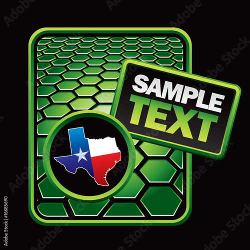 Texas icon on green hexagon banner