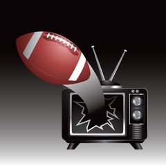 football breaks through tv screen