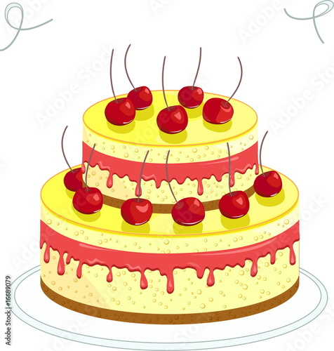 Big cherry cake, vector image