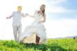 happy bride and groon outdoor