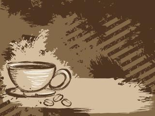 Horizontal grungy coffee background