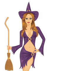 Witch with a broom.