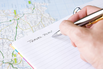 Hand writing travel plan