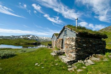 Hütten auf der Hardangervidda, Norwegen