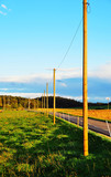 Swabian Alb Landscape with lonely power poles