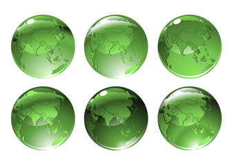 green globe icons with different countries