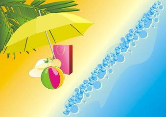 Hat, bag and ball under an umbrella on a beach. Vector