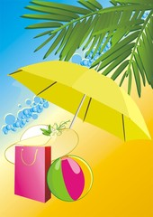 Hat, bag and ball under an umbrella. Vector