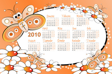 2010 Kid calendar with butterflies and daisies