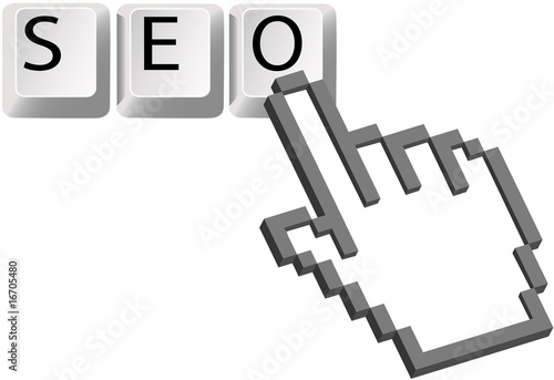 Hand cursor clicks SEO keys Search Engine Optimization