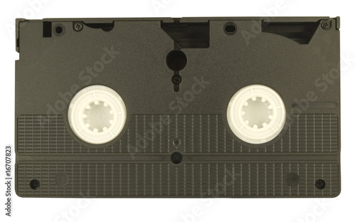 rear of old style video cassette isolated on white