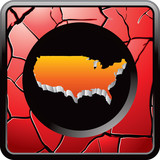 united states icon on red cracked web icon poster