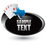 Texas hold em on silver swoosh banner poster