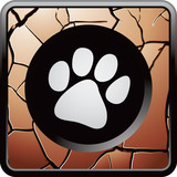 Paw print on bronze web button poster