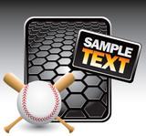 Crossed baseball bats and ball on black hexagon template poster