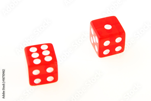 2 Dice close up - showing the numbers 1 and 6 isolated