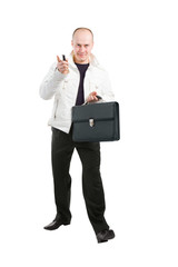 businessman holding his mobile and case in hands