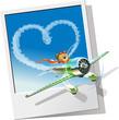 Vector racing airplane sending love message