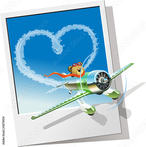 Vector racing airplane sending love message