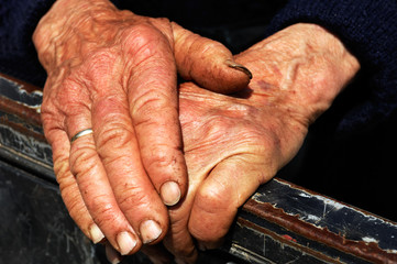 Hard work hands of an old lady