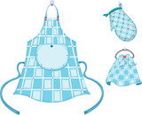 kitchen glove and apron and hand towel poster