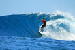 Surfer riding perfect tropical blue wave, Mentawai, Indonesia - 16714221