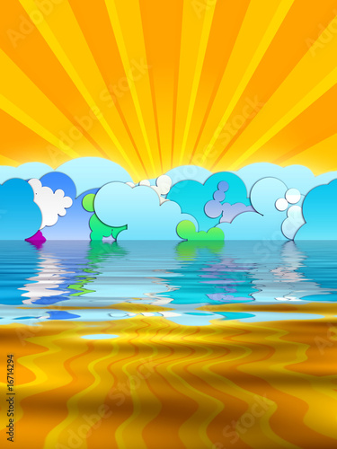 cartoon sun rays. Sun Rays and Cartoon Clouds © Vidady #16714294. Sun Rays and Cartoon Clouds