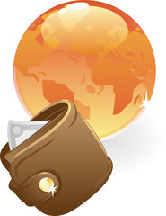Purse and orange globe. Vector illustration concept.