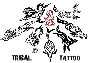 vector illustration animal tattoo collage (vector)