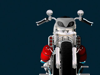 Motor cycle on a mirror background