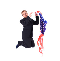 businessman and USA flag