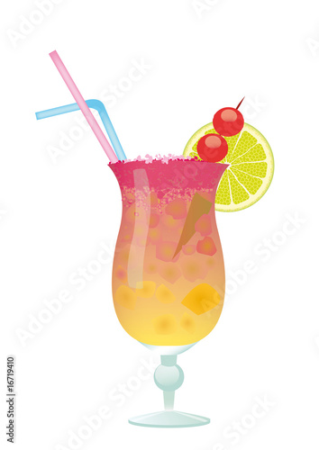 Cocktail with lemon and Cherry - Sex on the Beach